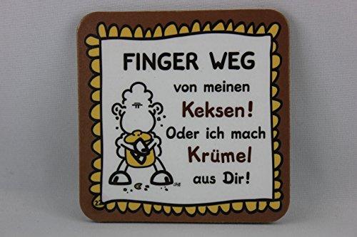 Sheepworld, Gruss & Co - 81038 - Untersetzer Nr. 22, Finger weg von meinen Keksen! Oder ich mach Krümel aus Dir!, Kork, 9,5cm x 9,5cm