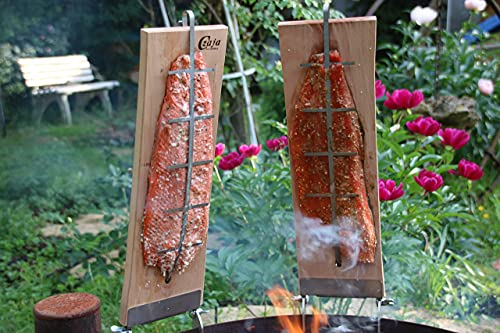 Czaja Flammlachsbretter für Feuerschalen, 2er Set Räucherbrett aus Buchenholz incl. stabilen Edelstahl Halterungen