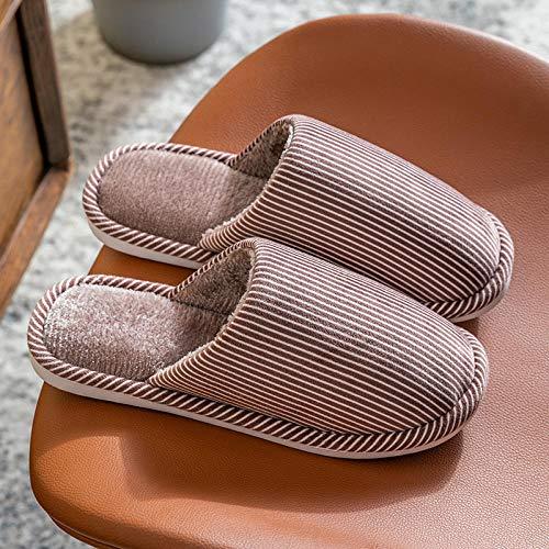 XZDNYDHGX Zapatos Cómodo Y Antideslizante,Zapatillas cálidas de Invierno para Hombre Zapatillas, Amantes de Las Rayas de Color sólido Zapatillas de casa Zapatillas de Interior marrón EU 41-42