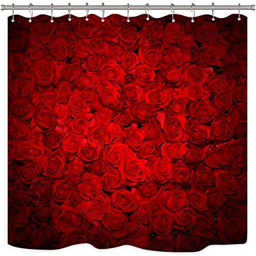 Riyidecor Rote Rose Duschvorhang Blumen Wand Liebe Hochzeit Romantisch Valentinstag Muttertag Bouquet Polyester Stoff Wasserdicht Badezimmer Home Drape Dekorative 183 x 183 cm 12 Kunststoffhaken