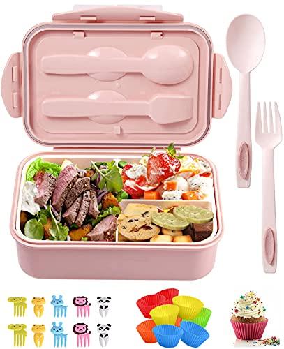 BANTINE Bento Lunch Box, Boîte à Repas Enfant Et 3 Tupperware Compartiment Micro Ondes Lunch Box Enfant/Adulte , Boîte Repas pour l'école,Le Pique-Nique, Le Travail