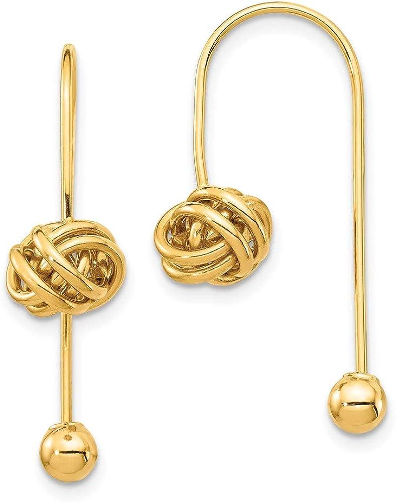 14K Love Knot w/Screw End Threader Earrings 28.34mm style YE1895