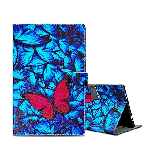 ONETHEFULCarcasaLibroFundaTabletSamsung Galaxy Tab A / A6 10.1' 2016 T580 T585CoverFundasProtectorconPU CueroySoporte- Mariposa roja