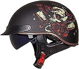 Casco de motocicleta con visera de liberación rápida con hebilla ECE/DOT aprobada por medio cara, cascos para hombres y mujeres, bicicleta, scooter, ATV Chopper Scooter (color : E)