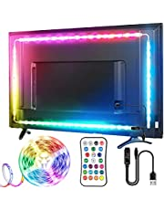 TV LED Strip, TOPYIYI 3M LED TV-achtergrondverlichting, USB LED TV Lights met Afstandsbediening, 5050 RGBW Multi-Gekleurde LED-strips voor 40-65 Inch TV, 21 verlichtingsmodel LED Lights voor TV Gaming-PC Spelcomputer