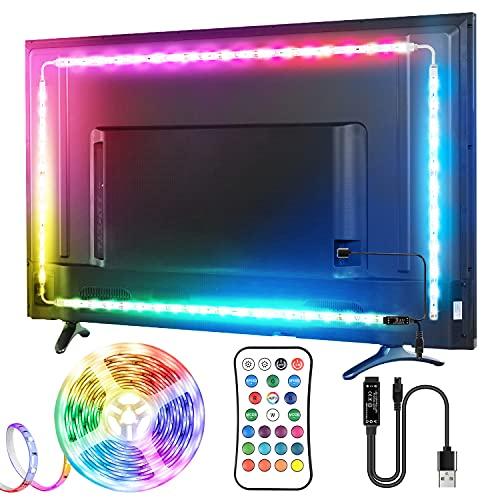 LED TV Retroilluminazione, TOPYIYI 3M Striscia LED, Ricaricabile USB, con Telecomando e 16 Colori e 21 Modalità, Adatto a TV da 40-65 Pollici, PC Monitore e Camera da Letto [2x95cm+2x55cm]