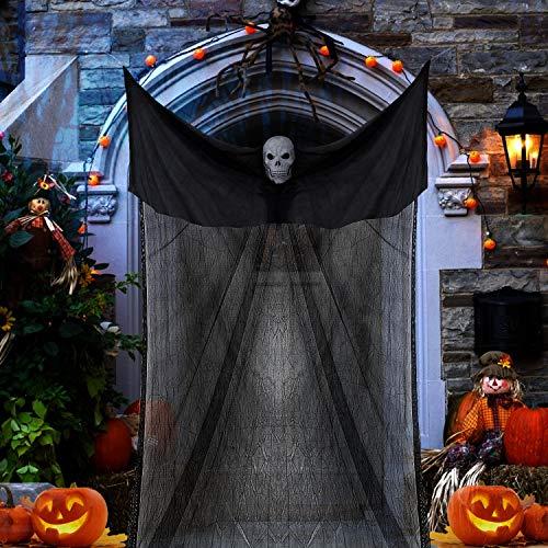 Taspire - Decoración de fantasma de Halloween, 3,3 m de largo x 2 m de ancho, colgante fantasma para exteriores interiores y bares, decoración de Halloween (negro)