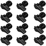 Hipat 12 Pack Black Whistle with Lanyard, Durable Thickened Plastic Whistles, Loud Crisp Sound Whistles Bulk Great for Coach, Referee,Sports
