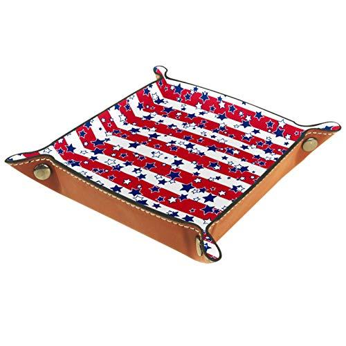 AITAI Bandeja de valet de cuero vegano organizador de mesita de noche, plato de almacenamiento Catchall azul marino, estrellas blancas y rojas, bandera de Estados Unidos