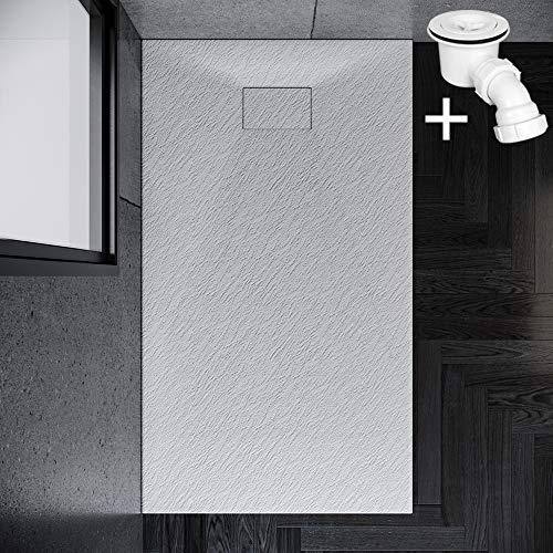 SONNI Duschwanne 160x90 cm Weiß Steinoptik Mineralguss Rechteckig Duschtasse mit Dusche Ablaufgarnitur