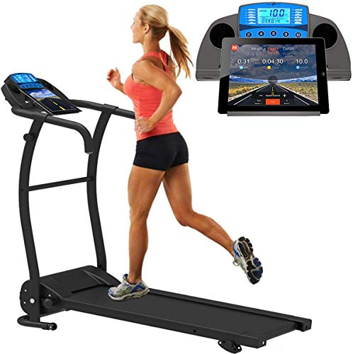 MOKY Sports - Cinta de correr plegable motorizada, inclinable ajustable, Bluetooth, ahorra espacio, botella de agua, ordenador LED