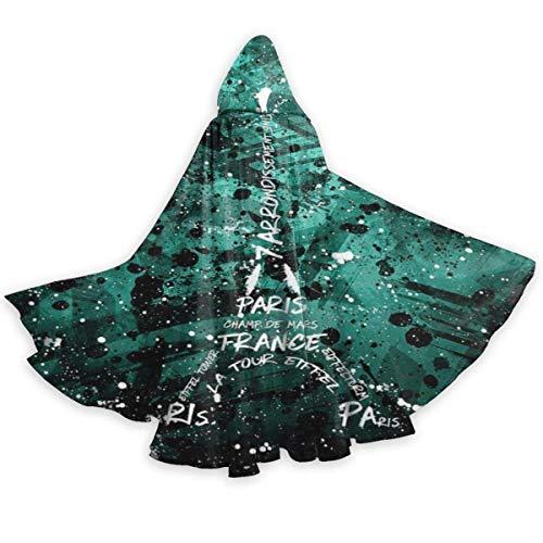 Zome Lag Capa del Cabo para Adultos Torre Eiffel Pars Cultura Francesa Halloween Capas con Capucha Disfraces Capas De Cosplay Bata Fiesta De Brujas Capa con Capucha