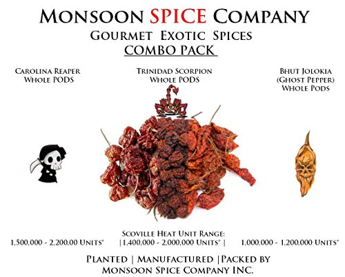 Monsoon Spice Company Carolina Reapers Dry Whole Pepper Pods Hottest Peppers in the World   Free Domestic Shipping (Combo Deals, Carolina + Scorpion + Ghost Pepper ( 6 PODS EACH ))