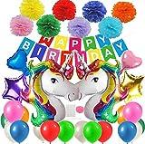 Decoración de Fiesta de Cumpleaños, Infantil Globos Unicornio Helio Gigante & Banner de Feliz Cumpleaños con Látex Globos y Pompones Adornos Partido Fuentes de Diversos Colores para Niño Niña
