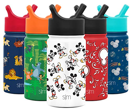 Simple Modern 10oz Disney Summit Kids Water Bottle Thermos with Straw Lid - Dishwasher Safe Vacuum Insulated Double Wall Tumbler Travel Cup 18/8 Stainless Steel - Disney: Mickey Retro