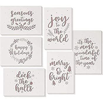 36-Pack Merry Christmas Holiday Greeting Card - Happy Holidays Xmas Cards in 6 Rose Gold Foil Designs Bulk Assorted Festive Winter Holiday Cards with Premium Foil Lined Envelopes 4 x 6 Inches