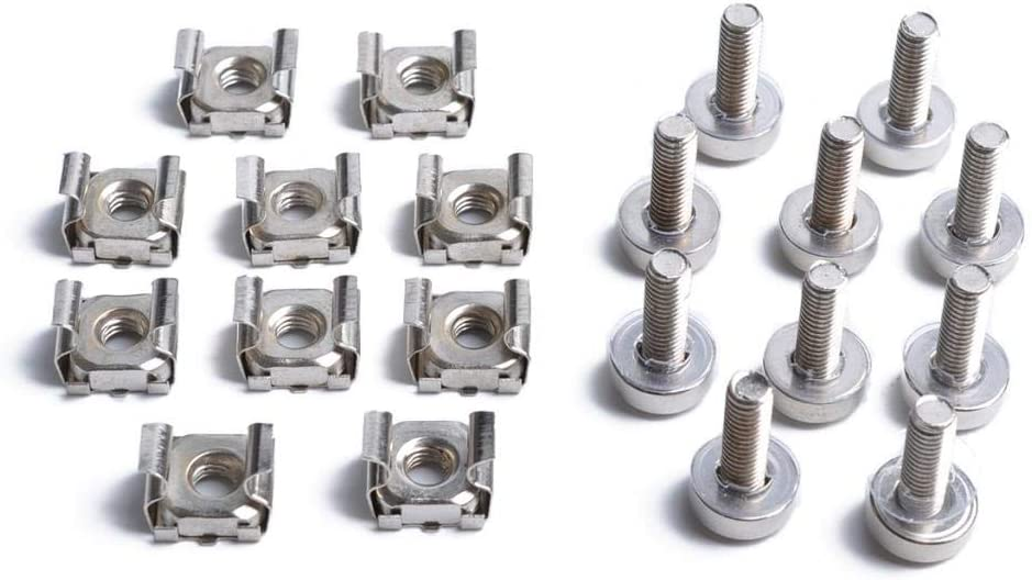 Gazechimp Cage Nuts and Screws, 50Set Square Hole Hardware Cage Nuts & Mounting Screws Washers for Server Rack and Cabinet (M5 x 20mm)