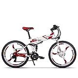 RICH BIT RT860 Vélo Électrique 250W*36V*12.8Ah Vélo Pliant Shimano 21 Vitesse VTT Smart Vélo Électrique (Red)