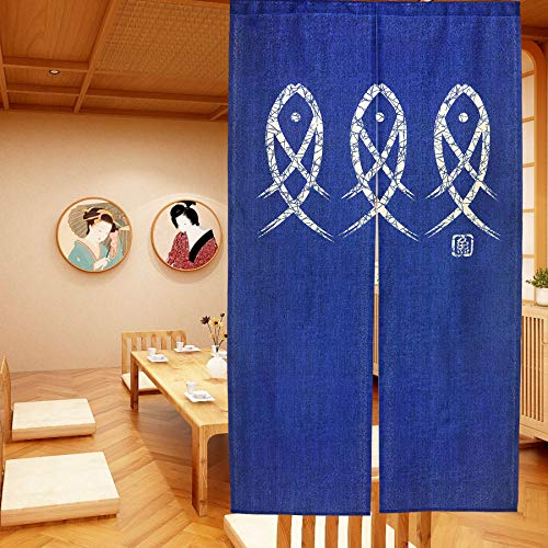 LIGICKY Japanese Noren Doorway Curtain Ancient Character Fish Tapestry for Home Decoration Blue 33x59inch