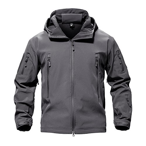 TACVASEN Men's Casual Lightweight Army Military Tactical Softshell Fleece Jacket Gray,US M