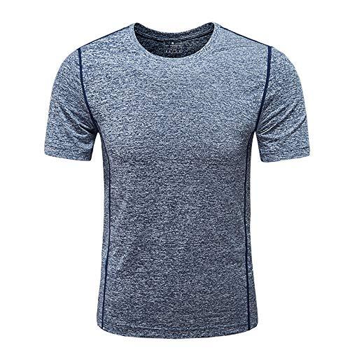 Camiseta deportiva transpirable para hombre, de secado rápido, para ciclismo, entrenamiento, entrenamiento, fitness, 4 colores (color: gris oscuro, tamaño: XXXL)