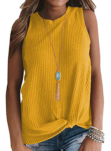 MIHOLL Summer Tops for Women Sleeveless Cute Twist Knot Waffle Knit Shirts Tank Tops (Medium, Yellow)