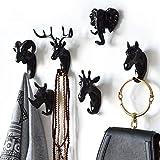 Animal Head Key Hooks Decorative for Wall Creative Resin Hook Hanger (Pack 6) Animal Shaped Coat Hat Hook Wall Hanging Wall Hook Decorative Gift (Black)