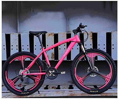 L&WB Mountain Bikes Racing Bikes Bicicletta Mountain Mountain Bike Biciclette per Adulti per Uomini E Donne 26In Ruote velocità Regolabile velocità Doppia Freno A Disco,Rosa,21speed
