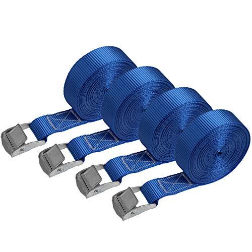 Zurrgurt Spanngurt Befestigungsgurt - BLAU - 2,5m 4m 6m - verschiedene Stückzahlen, belastbar bis 250 kg DIN EN 12195-2, 4er Pack 2,5 cm x 6 m