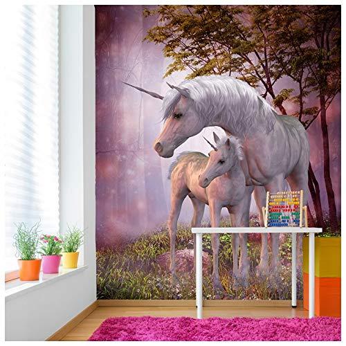 azutura Magisches Einhorn & Fohlen Fototapete Phantasie Tapete Mädchen Schlafzimmer Dekor Erhältlich in 8 Größen Mittel Digital