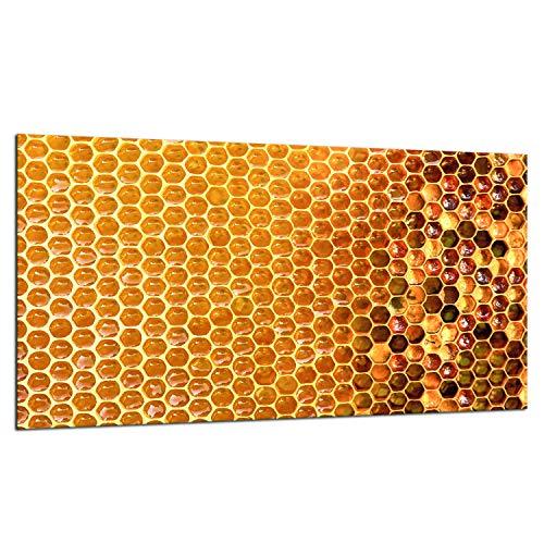 TMK - Placa protectora de vitrocerámica 90 x 52 cm 1 pieza cocina eléctrica universal para inducción, protección contra salpicaduras tabla de cortar de vidrio templado como decoración Miel