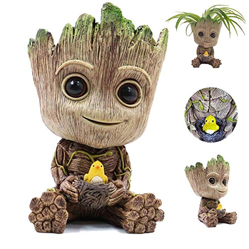 Groot Flowerpot Baby Groot Action Figures Succulent Planter PVC Cute Model Pen Holder with Hole Best Gift for Kids