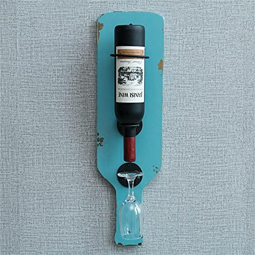 CGF- Soportes para Copas Botellero Retro montado en la Pared, Hierro y Pino, Expositor de Vino Moderno y Minimalista, solución de Almacenamiento de Alcohol, Capacidad para 1 Botellas de Vino estándar