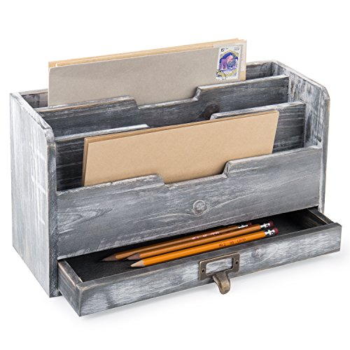 MyGift Rustic Gray Wood Desktop Mail Sorter with Pen & Pencil Drawer