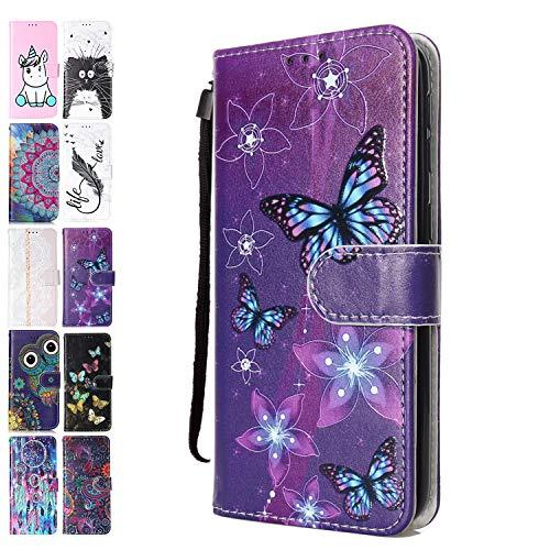 Ancase Lederhülle kompatibel für Huawei Y6 2019 / Honor 8A Hülle Lila Schmetterling Muster Handyhülle Flip Hülle Cover Schutzhülle mit Kartenfach Leder Tasche für Mädchen Damen