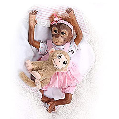 ZIYIUI 21 Pulgadas 52 cm Bebé Reborn Mono Silicona Suave de Vinilo Hecho a Mano Muñecas Reborn Baby Girl Pintura Detallada Artística Recién Nacida Mejor Regalo para niños