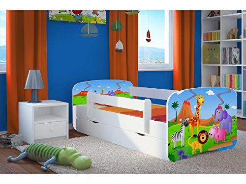 Kocot Kids Kinderbett Jugendbett 70x140 80x160 80x180 Weiß mit Rausfallschutz Matratze Schublade und Lattenrost Kinderbetten für Mädchen und Junge - Safari 140 cm