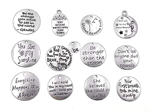 Kinteshun Lettering Sayings Charm Hang Tag Quote Message Verses Charm Pendant for DIY Necklace Bracelet Jewelry Making Accessaries(12pcs,Antique Silver Color)