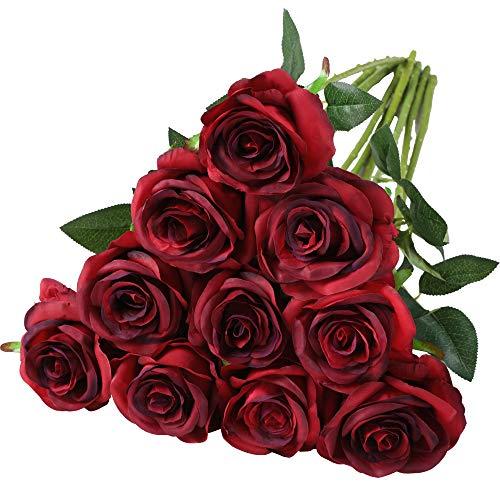 Nubry künstliche Seidenrose Blume einzigen Stiel lebensechte gefälschte Rose für Hochzeit Blumenstrauß Blumenarrangements Home Party Centerpiece Dekoration, 10pcs (Gradient dunkelrot)