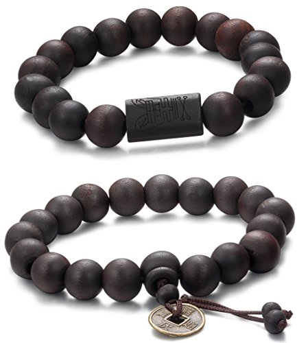 Jstyle 2 Pcs 11mm Wood Bead Bracelet for Men Women Tibetan Buddhist Prayer Link Cool