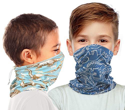Kid's Organic Cotton Adjustable Neck Gaiter. Filter Pocket. Fits 5-14 Yrs (Dinosaur 2 Pk)