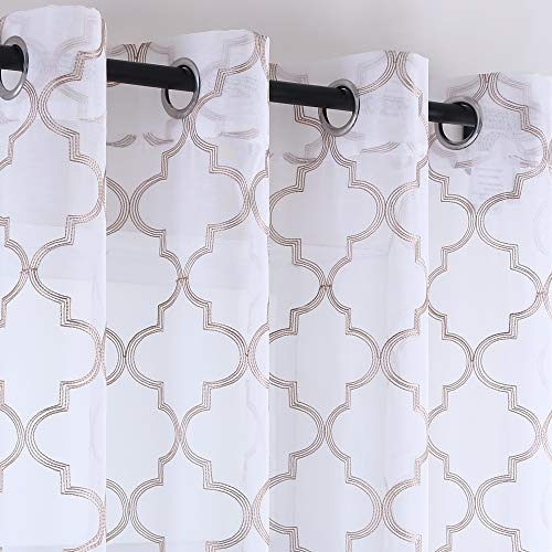 KEQIAOSUOCAI Farmhouse Curtains 54 Inches Length Taupe Quatrefoil Lattice Embroidery Semi Sheer Curtains on White Flax Linen Look Voile 2 Panels Grommets Curtains for Dining Room