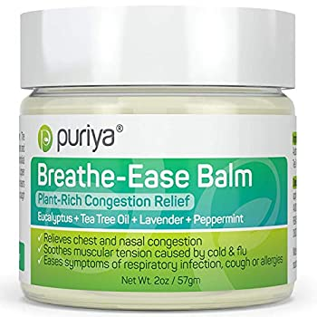 Puriya Chest Rub Cream for Congestion Relief Breathe Ease Balm Plant Rich Active Formula Eucalyptus Oil Lavender Tea Tree Soothes and Relieves Cold and Sinus Flu,Cough Safe for Kids and Adults