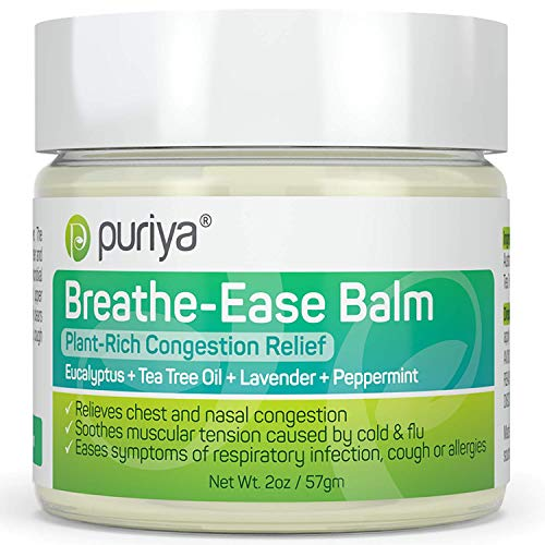 Puriya Chest Rub Cream for Congestion Relief, Breathe Ease Balm, Plant Rich Active Formula, Eucalyptus Oil, Lavender, Tea Tree, Soothes and Relieves Cold and Sinus, Flu,Cough, Safe for Kids and Adults