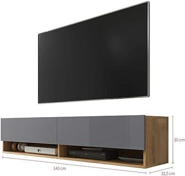 Selsey Meuble TV, Chêne Wotan/Gris Brillant, sans LED