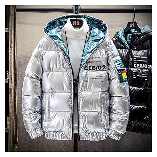 lxwi Chaqueta ultraligera cálida y resistente al viento para hombre, chaqueta de plumón, informal, cálida, cuello con capucha, abrigos de invierno para hombre (color: plata 606, talla: XXXL)