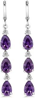 Stunning 2inches Purple Pear Shape CZ Zirconia Rhodium Plated Dangle Earrings