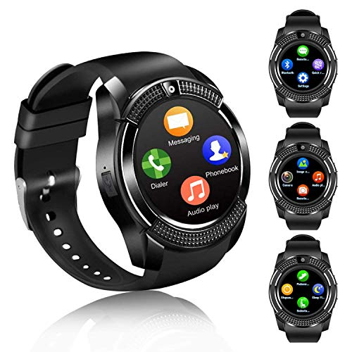 FENHOO Smartwatch SN08 Smart Watch con Slot per Scheda SIM Touch Screen Fotocamera Pedometro Orologio Intelligente Compatibile Samsung Xiaomi Huawei Telefoni Android e iOS Uomo Donna Bambini (Nero)
