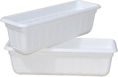 "Premium High-Density Plastic Planter & Flower Window Box Gina 18"" Set of 2 Units (White Color)"