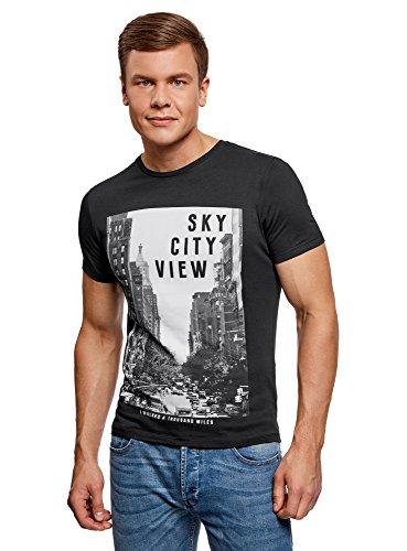 oodji Ultra Hombre Camiseta de Algodón con Estampado Urbano, Negro, ES 50 / M